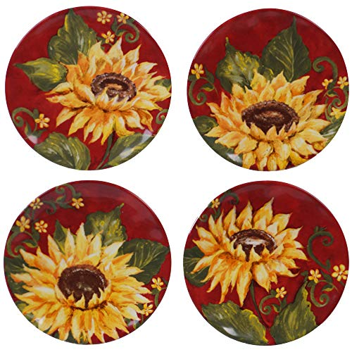"""Certified International Sunset Sunflower 6"""" Canape Plate, Set of 4 Assorted Design,One Size, Multicolored"""