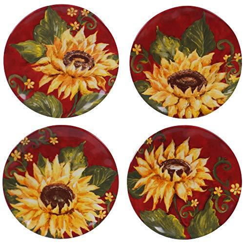 Sunset Sunflower Set/4 Canape Plate 6u0022 asst.