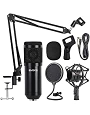 Professional Metal Studio Condenser Microphone Kit BM800 with Pop Filter - Scissor Arm Stand - Shock Mount for Studio Recording Podcasting Broadcasting