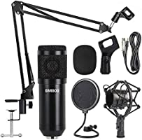 Professional Metal Studio Condenser Microphone Kit BM800 with Pop Filter - Scissor Arm Stand - Shock Mount for Studio...