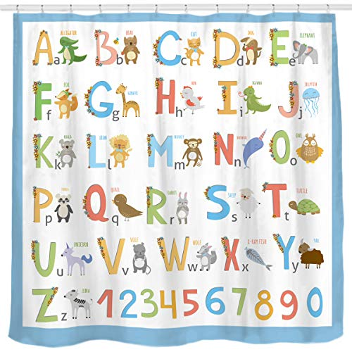 Sunlit Alphabet Fabric Shower Curtain for Kids ABC...