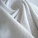 Stoff Baumwolle Frottee Waffelpiqué weiß Waffelpikee