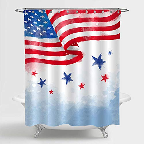 Flag and Stars Shower Curtain