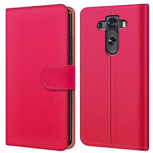 Conie BW15860 Basic Wallet Kompatibel mit LG G3 S, Booklet PU Leder Hülle Tasche mit Kartenfächer & Aufstellfunktion für G3 S Hülle Pink
