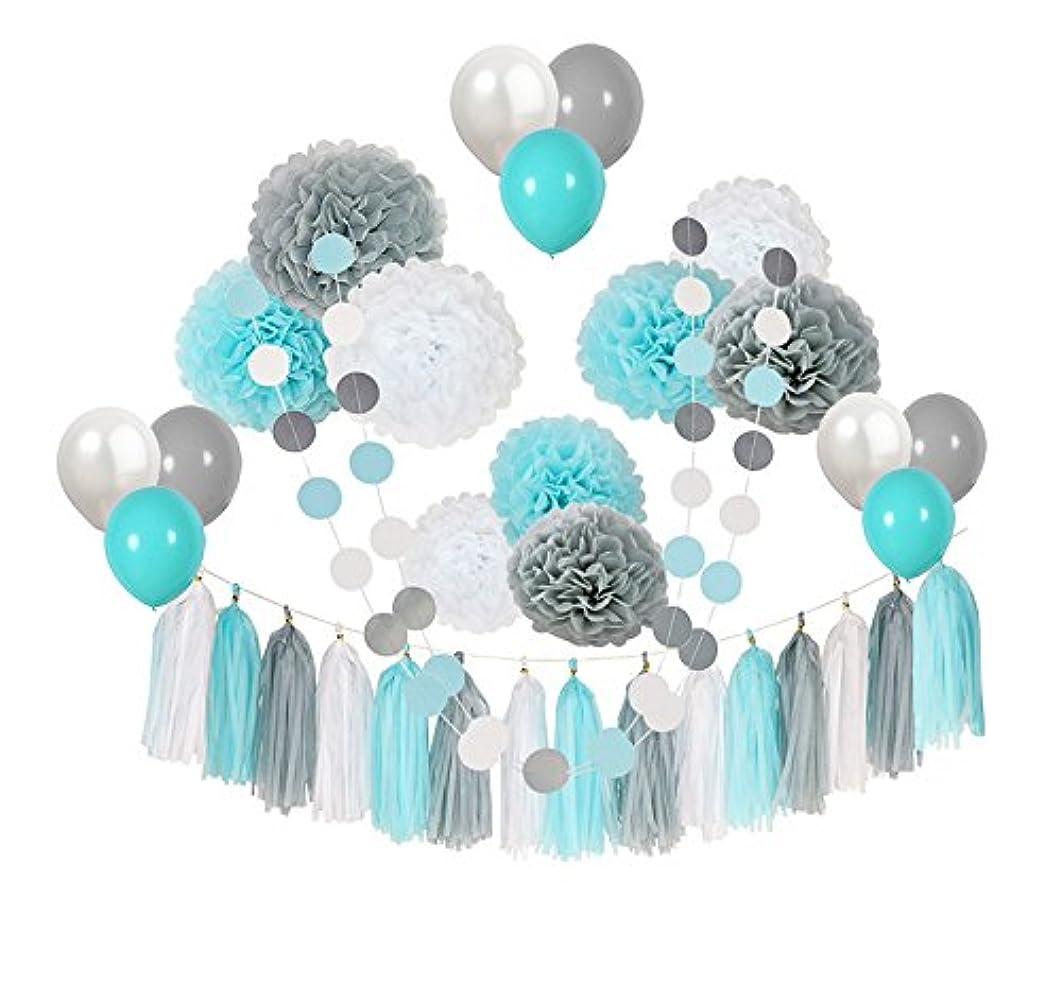 Topfun 35 pcs Baby Shower Decorations Baby Blue Gray White Paper Pom Poms Flowers Tissue Tassel Polka Dot Paper Garland kit with 12