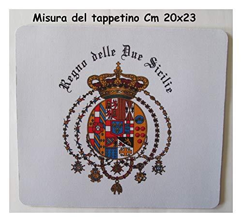 Tappetino Mouse con Stemma e Scritta Pad Regno delle 2 Due Sicilie Real Casa Borbone Napoli Palermo Cm 20x23 Computer Personalizzato Unico bottega2sicilie