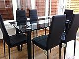 KOSY KOALA Impresionante juego de mesa de comedor de cristal negro y 6 sillas de piel sintética (mesa y 6 sillas)