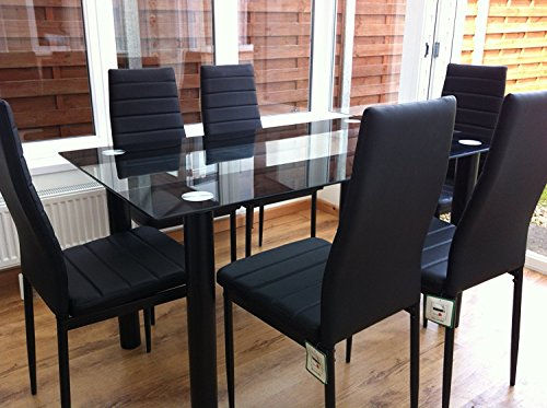 KOSY KOALA STUNNING GLASS BLACK DINING TABLE SET AND 6 FAUX LEATHER CHAIRS (Black Table and 6 chairs)