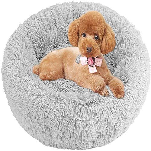 SQXH Quiet Pet Mattress, Fluffy Plush Dog Bed, Cat Bed, Puppy Donut, Hug Bed, Comfortable Pet Nest.light greyL