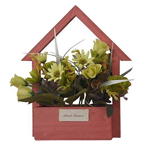 Hogar y Mas Flores Artificiales para Jardín con Macetero Rojo de Madera Natural, Flores Verdes Decorativas Vintage 24x6x16 cm