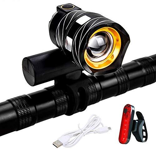 GXZOCK Fahrradlicht Set, Wiederaufladbare Fahrradlicht LED Vorne Licht und Rücklicht Set, Wasserdicht Mountainbike USB Zoombar Fokussierbar Fahrradlampe.
