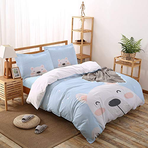 ARTSHOWING Cute Bear 4 Pieces Duvet Cover Set Ultra Soft Bedding Set with Zipper Easy Care Bedding Set for Unisex Full Baby Cartoon Animal Blue Background