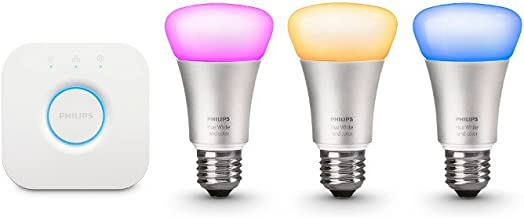 Philips Hue White and Color Ambiance A19 60W Equivalent Smart Bulb Starter Kit (Compatible with Amazon Alexa Apple HomeKit and Google Assistant)
