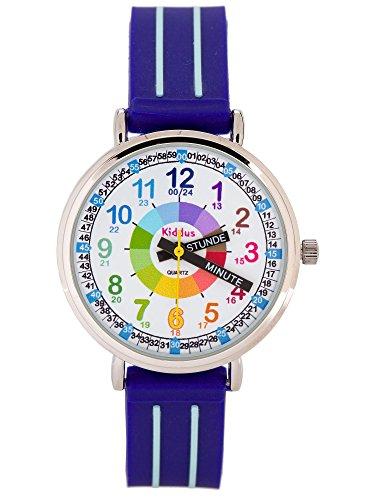 KIDDUS Lern Armbanduhr für Kinder, Jungen und Mädchen. Analoge Armbanduhr mit Zeitlernübungen, japanischen Quarzwerk, gut lesbar, um ganz leicht zu Lernen, die Uhr zu lesen. KI10305 Griffe