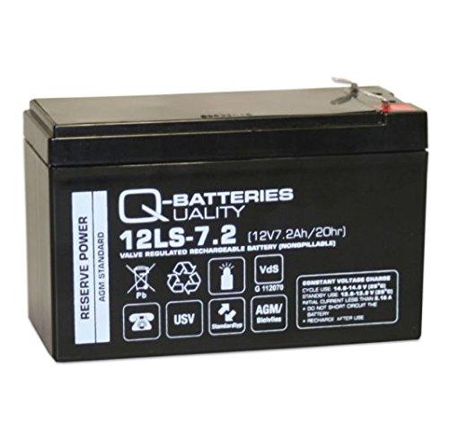Q-Batteries Batterie AGM 12LS-7.2 F2 12 V 7,2 Ah avec homologation VDs.