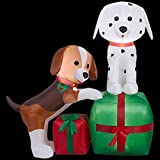 Christmas Inflatable Puppies With Presents Airblown Holiday Decoration By Gemmy