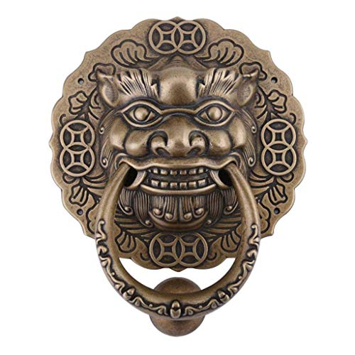 DYFAR Brass Door Knocker, Antique Lion Decorative DoorKnocker Heavy Duty Vintage Knocker Great for Front Door Hotel Furniture-Bronze-17.8x21cm(7x8Inch)