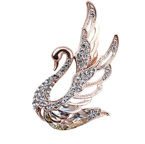 TULIP LY Couleur Cristal Cygne Oiseau Broche Broche élégant élégant Animaux Broches Bijoux Accessoires vêtements écharpes châle Boutons Costume (Blanc)