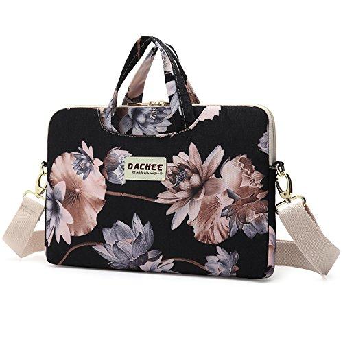 Dachee Black Lotus atten Waterproof Laptop Shoulder Messenger Bag Case Sleeve for 14 Inch 15 Inch Laptop Case Laptop Briefcase 15.6 Inch