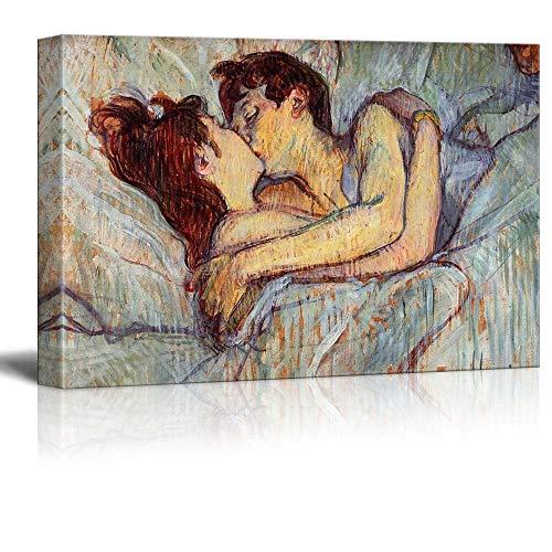 N\A En la Cama El Beso de Henri de Toulouse-Lautrec - Cuadro en Lienzo Arte de la Pared Pintura Famosa Reproducción