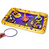 JOYIN Halloween Games Set, Witch Hat Ring Toss Game for Halloween Party Favor Include 1 Inflatable Game Board, 5 Inflatable Witch Hats, and 5 Colors Rings