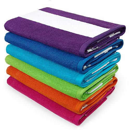 Kaufman - Cabana Stripe Beach/Pool Towel , 6-Pack, 30in x 60in, 100% U.S.A. Cotton, Large Pool Towels Plush and Absorbent Terry Beach Towel. (6)