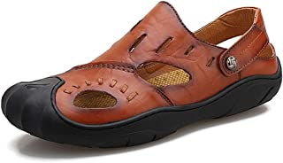 Men Sandals Beach Sandal for Men Slip on Slipper Closed Toes Handmade Summer Outdoor Hiking Shoes Genuine Leather Comfortable