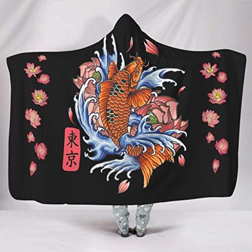 Gaolucky Japón Koi Fisch Tokio - Sudadera con capucha (150 x 200 cm), color blanco