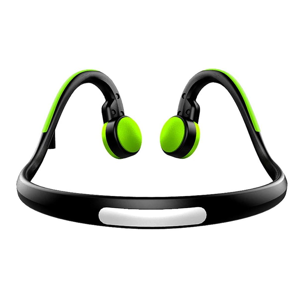 ますます地元人気の骨伝導スマートスポーツ Bluetooth ヘッドセットステレオ両耳マイク音楽スポーツ IPX4 防水アンドロイド? Ios 電話コンピューター,Green