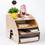 Organizador de escritorio de madera, juego de almacenamiento para escritorio DIY, 4 compartimentos, bandeja para carpetas multifunción, clasificador, ficheros, revistas, A4, cajas de almacenamiento