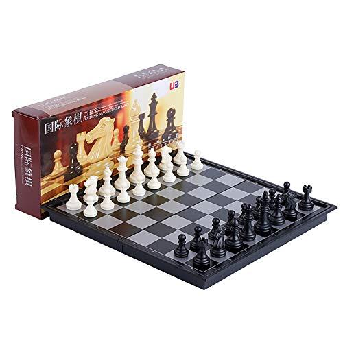 Plata Metalizada y Juego de Colores Negro con Brillantes Piezas de ajedrez de Lujo Juego de ajedrez 31 x 31 cm KLEO Stonkraft