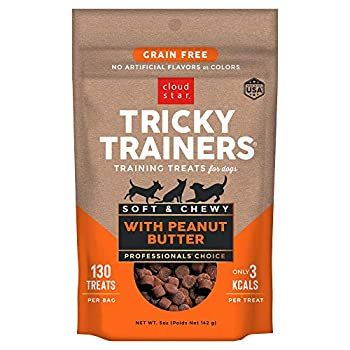 Cloud Star Tricky Trainers Chewy & Grain Free Low Calorie Dog Training Treats Baked in the USA Peanut Butter 5 oz.