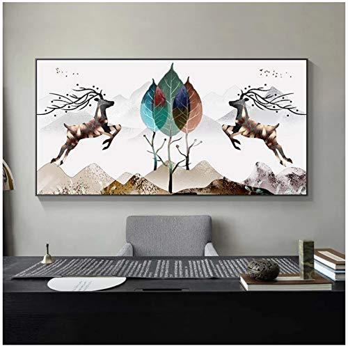 HHONG Carteles e Impresiones Abstractos Modernos de Dos Caballos con paisajes, Pinturas en Lienzo, Cuadros artísticos para decoración de Habitaciones, Arte de Pared, 50x100cm / 19.6
