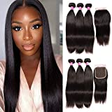 Straight Hair Bundles with Closure 100% Brazilian Straight Virgin Hair 3 Bundles with Lace Closure Free Part Human Hair Extensions Natural Color (16 18 20+14)