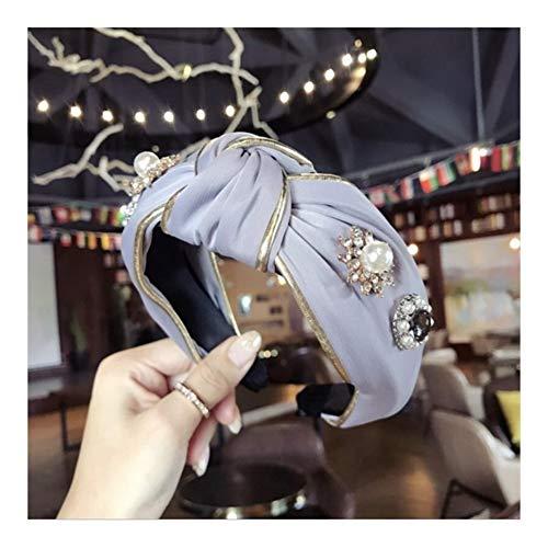 Luxury Boutique Dei Capelli Delle Donne Accessori Diamanti Tessuto Cerchiati D'oro Super Flash Medio Annodati A Tesa Larga Fascia Hairband Cerchietti (Color : B Navy)