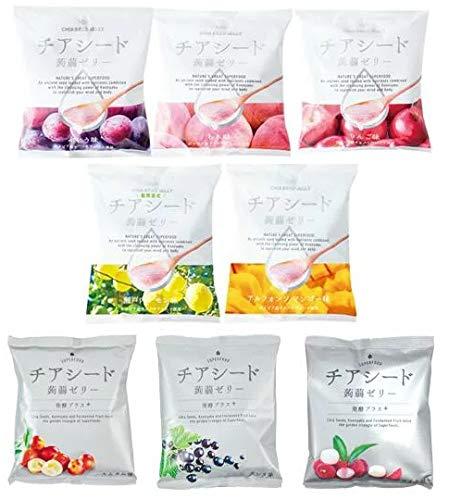 チアシード蒟蒻ゼリー 8種セット (アルフォンソマンゴー味・瀬戸内レモン味・ぶどう味・もも味・りんご味・カムカム味・カシス味・ライチ味)10個入 各1袋 計8袋