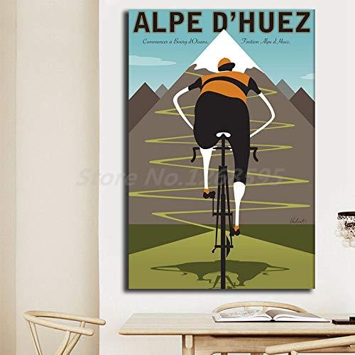 SDFSD Alpe mountainbike fietstocht vintage retro kunst canvas poster schilderij wandafbeelding afdrukken huis slaapkamer decoratie Giclee50x75cm