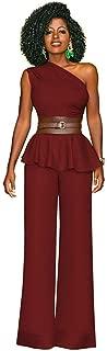 LYB FASHION Women's One Shoulder Shoulder Less Pleated Ruffle Hem Top & Wide Leg Pants Outfit Suit 5957