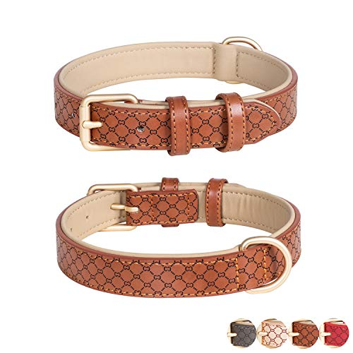 Poohoo Leather Dog Collar Soft & Breathable Padded | Brass Hardware Rust-Proof | Heavy Duty | Lovely Bone Pattern | Classic Pet Collar for Medium Large X-Large Dogs (X-Large, Brown)