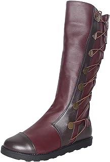 Neu Overknee Stiefel Rund PU Leder Schwarz Damenstiefel Schuhe Braun Boots 34-48