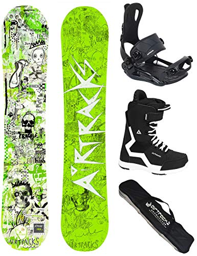 AIRTRACKS Snowboard Set/Board Dreamcatcher Neon Hybrid Rocker + Snowboard Binding Master + Snowboardboots + Sb Bag / 150 155 158 162 / cm