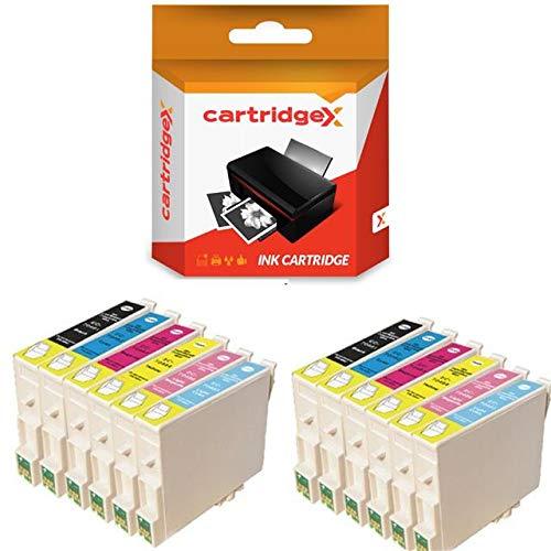 Cartridgex Juego de 12 cartuchos de tinta compatibles para Epson Stylus Photo R200 R220 R300 R300M R320