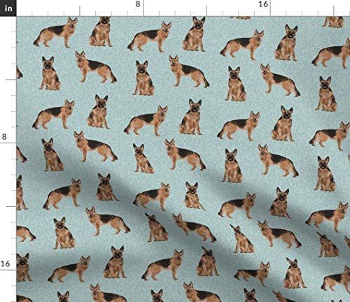 Spoonflower Fabric - German Shepherd Pet Quilt Dogs Collection Shepherds Mom Portrait Printed on Modern Jersey Fabric by The Yard - Fashion Apparel Clothing with 4-Way Stretch