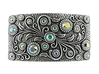 Swarovski rhinestone Crystal Belt Buckle Antique/Brass Rectangle Floral Engraved Buckle