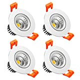 LightingWill LED Recessed Ceiling Lights Downlights 3W Dimmable Warm White 3000K-3500K CRI80 COB Directional Recessed Ceiling Light Cut-Out 2inch 60 Beam Angle 25W Halogen Bulbs Equivalent 4 Pack