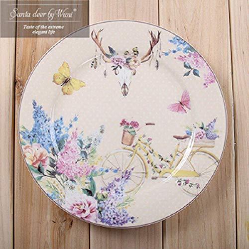YNHNI Placa de Cena Conjunto 1Pc Vajilla Estilo japonés Cena Placa de cerámica del Plato de Porcelana Placa de Postre Plato de vajilla de la Torta de la Placa Principal Occidental de Alimentos