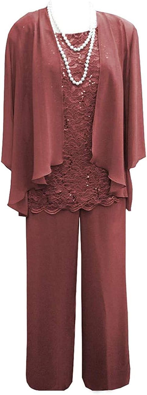 Women's Plus Size 3 Pieces Lace Mother of Bride Dress Pant Suit Chiffon Formal Evening Gowns