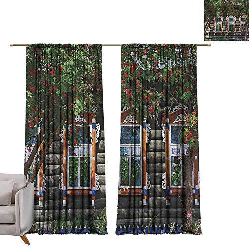 Tr.G Gordijn Panelen, Set van 2 Moderne Boerderij Landgordijnen Rolluiken, Verweerd Raam met Bloemen in Pot Wheels Boerderij Landelijke Scene Front View Bruin Groen Rood