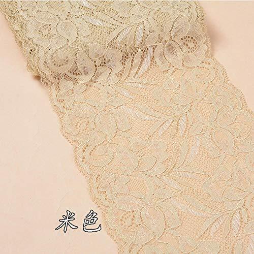 ASADVE Näh- Und Stoffspitze 15 cm Breite Florale Spitzenbesatz Handgefertigte Unterwäsche Kleid Kleidung Spitzenmaterial Do-It-Yourself-Kleidung-Beige
