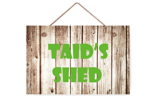 buythrow Taid's Shed Rustic Wood Sign Plank Hanging Wall Plaque for Garden Decor